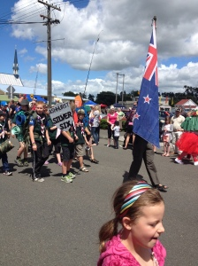 Ollie as flag bearer!