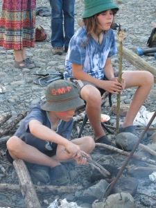Charlie and Henry have spent hours and hours over the last two weeks around a campfire and when not cooking damper they play with the sticks, decorating the rocks and burning the surrounding grass.  You just know that they are having such a good time.